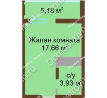 Студия 26,8 м² в ЖК Академический, дом № 8 - планировка