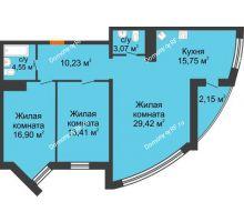 3 комнатная квартира 98,5 м² в ЖК Империал, дом Литер 9 - планировка