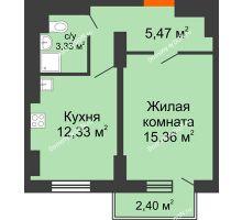 1 комнатная квартира 36,72 м² в ЖК Мечников, дом ул. Таврическая, 4 - планировка