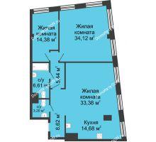 3 комнатная квартира 120,43 м², ЖК Гранд Панорама - планировка