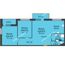 3 комнатная квартира 79,2 м², ЖК Дом мечты - планировка