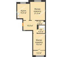 2 комнатная квартира 73,9 м² - ЖК Симфония Нижнего