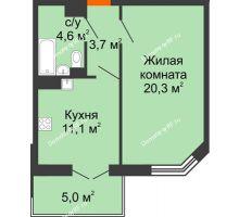 1 комнатная квартира 41,2 м², Жилой дом по ул.Минской 43/3 - планировка
