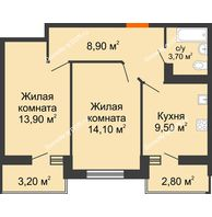 2 комнатная квартира 53,1 м² в ЖК Вересаево, дом Литер 11 - планировка