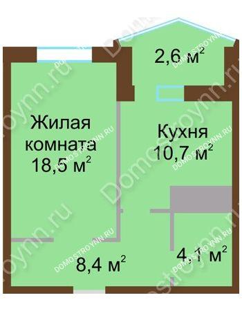 1 комнатная квартира 44,3 м² в ЖК Монолит, дом № 89, корп. 1, 2