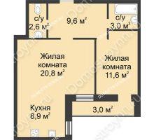 2 комнатная квартира 59,5 м² - ЖК Дом на Иванова