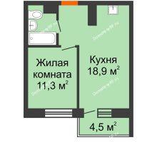 1 комнатная квартира 40,2 м² в ЖК Отражение, дом Литер 2.1 - планировка