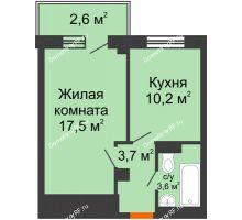 1 комнатная квартира 36,8 м², ЖД Подзолкова - планировка