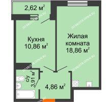 1 комнатная квартира 41,11 м² - ЖК Комарово