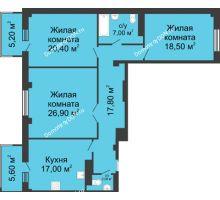 3 комнатная квартира 112,9 м², ЖК Нахичевань - планировка