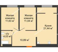 2 комнатная квартира 59,03 м² в ЖК Тесла Парк, дом ГП-2 - планировка