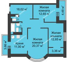 3 комнатная квартира 91,61 м², ЖК Петровская Крепость - планировка