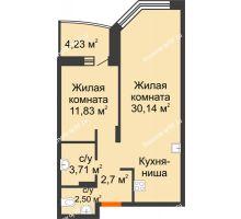 2 комнатная квартира 55,2 м² в ЖК Золотое сечение, дом №1, 2 этап - планировка