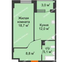1 комнатная квартира 46,1 м² в ЖК Квартет, дом № 3 - планировка