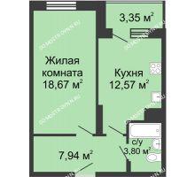 1 комнатная квартира 46,33 м² в ЖК Красная поляна, дом № 6