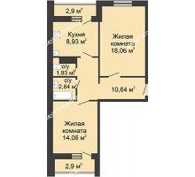 2 комнатная квартира 59,36 м² в ЖК Бурнаковский, дом № 38 - планировка