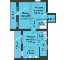 3 комнатная квартира 78,67 м² - ЖК Дом у озера