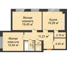 2 комнатная квартира 70,85 м², Клубный дом На Коммунистической - планировка