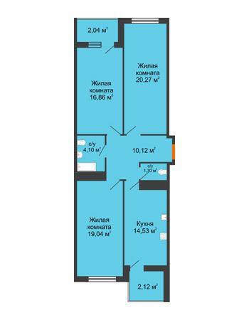 3 комнатная квартира 90,78 м² в ЖК Фамилия, дом Литер 1