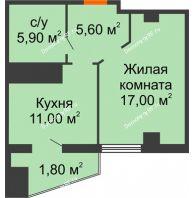 1 комнатная квартира 41,3 м² в ЖК Пять звёзд, дом Секция 4/2 - планировка