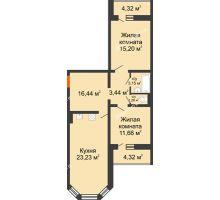 2 комнатная квартира 75,28 м², ЖК Инстеп. Звездный - планировка