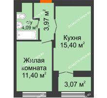 1 комнатная квартира 36,4 м², ЖК КМ Молодежный, 76 - планировка