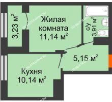 1 комнатная квартира 31,96 м², ЖК КМ Молодежный, 76 - планировка