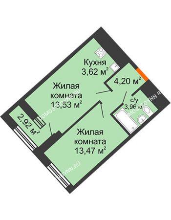 1 комнатная квартира 40,24 м² в ЖК Дом на Набережной, дом № 1