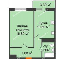 1 комнатная квартира 39 м² в ЖК Мелодия, дом Литер 1 - планировка