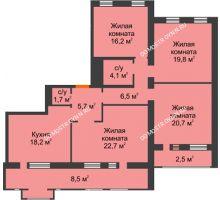 4 комнатная квартира 126,6 м², Жилой дом: ул. Варварская - планировка