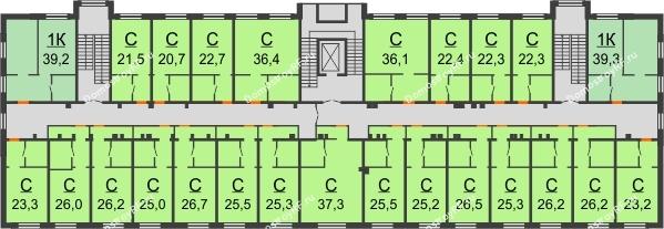 ЖК Красный дом - планировка 2 этажа