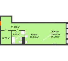Студия 68,09 м² в ЖК Георгиевский, дом 2а - планировка