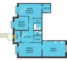 3 комнатная квартира 120,7 м², Жилой дом: г. Дзержинск, ул. Кирова, д.12 - планировка