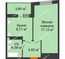 1 комнатная квартира 36,24 м², ЖК Сограт - планировка