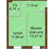 1 комнатная квартира 36,47 м² в ЖК Каменки, дом №14