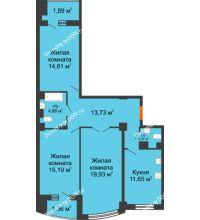 3 комнатная квартира 88,68 м² в ЖК Университетский 137, дом Секция С1 - планировка