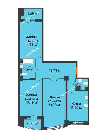 3 комнатная квартира 88,68 м² в ЖК Университетский 137, дом Секция С1