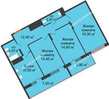 3 комнатная квартира 88,9 м² в ЖК Маршал Град, дом № 3 - планировка