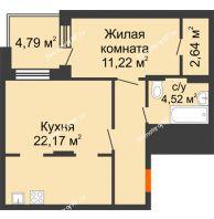 2 комнатная квартира 51,46 м², Жилой дом Кислород - планировка