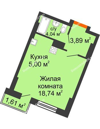 Студия 27,08 м² в ЖК Мечников, дом ул. Мечникова, 37