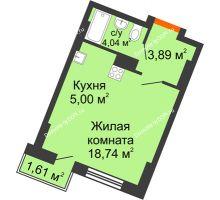 Студия 27,08 м² в ЖК Мечников, дом ул. Мечникова, 37 - планировка