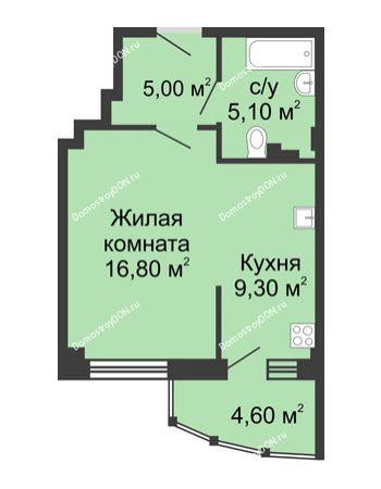 1 комнатная квартира 40,8 м² в ЖК Мега, дом № 2