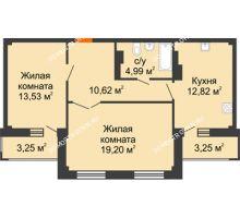 2 комнатная квартира 64,41 м² - ЖК Семейный
