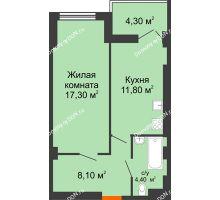 1 комнатная квартира 42,5 м², ЖК Уютный дом на Мечникова - планировка