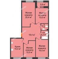 4 комнатная квартира 103,3 м² в ЖК Цветы 2, дом № 7 - планировка