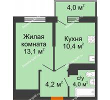 1 комнатная квартира 32,9 м² в ЖК Отражение, дом Литер 2.2 - планировка