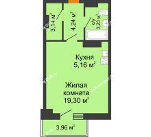 Студия 37,13 м² в ЖК Сокол на Оганова, дом Литер 5 - планировка