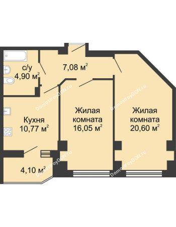 2 комнатная квартира 61,45 м² в ЖК Мега, дом № 1