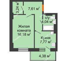 1 комнатная квартира 40,15 м² - ЖК Семейный