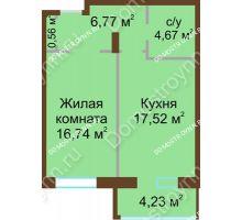 1 комнатная квартира 47,2 м² в ЖК Дворянский, дом № 1 - планировка
